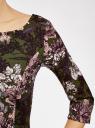 Платье трикотажное принтованное oodji #SECTION_NAME# (зеленый), 14001150-3/33038/254BF - вид 5