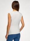 Жилет из струящейся ткани с поясом oodji для женщины (белый), 22305004-1/43859/1200N - вид 3
