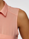 Топ вискозный с рубашечным воротником oodji #SECTION_NAME# (розовый), 14911009B/26346/5400N - вид 5