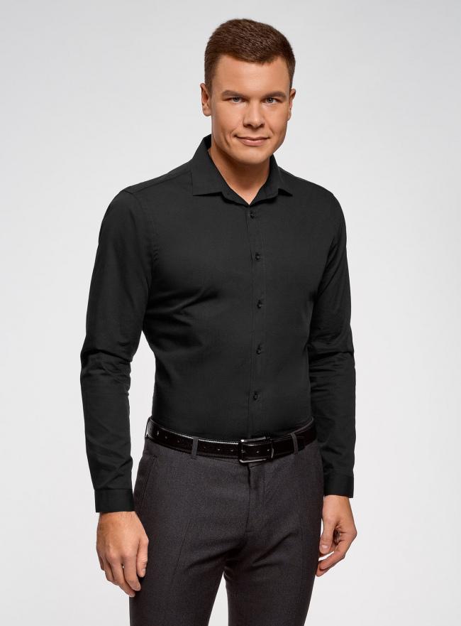 Рубашка базовая приталенного силуэта oodji #SECTION_NAME# (черный), 3B110012M/23286N/2900N