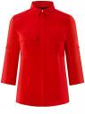 Блузка из струящейся ткани с нагрудными карманами oodji для женщины (красный), 11403225-6B/48853/4500N