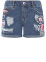 Шорты джинсовые с нашивками и потертостями oodji #SECTION_NAME# (синий), 12807093/45254/7500W