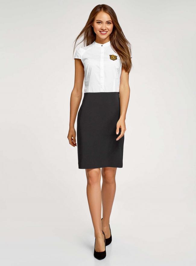 Платье комбинированное с вышивкой oodji #SECTION_NAME# (белый), 12C12001-1/42250/1029B