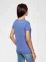 Футболка хлопковая с принтом oodji для женщины (синий), 14701080-1/46158/7529P