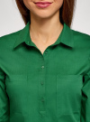 Рубашка базовая с нагрудными карманами oodji #SECTION_NAME# (зеленый), 11403222B/42468/6E00N - вид 4