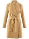 Пальто без застежки с поясом oodji #SECTION_NAME# (бежевый), 10104042-1/47736/3500N