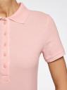 Поло базовое из ткани пике oodji для женщины (розовый), 19301001-1B/46161/4000N