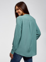 Блузка вискозная А-образного силуэта oodji для женщины (бирюзовый), 21411113B/42540/7302N