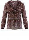 Блузка принтованная с воланами и стразами oodji #SECTION_NAME# (красный), 11411110/10466/4919F