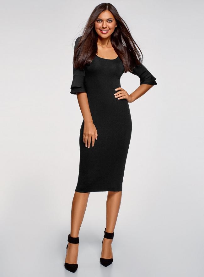 Платье облегающего силуэта с воланами на рукавах oodji для женщины (черный), 63912224/47002/2900N