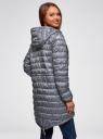 Куртка удлиненная с асимметричным низом oodji #SECTION_NAME# (серый), 10203056-2B/42257/2510G - вид 3