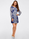 Платье из шифона с ремнем oodji #SECTION_NAME# (синий), 11900150-3/13632/7510O - вид 2