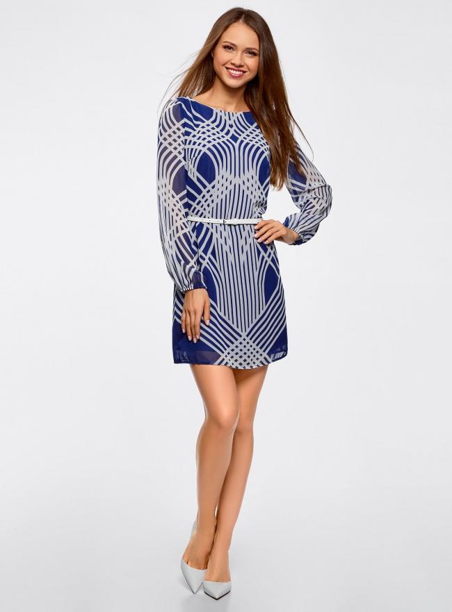 Платье из шифона с ремнем oodji #SECTION_NAME# (синий), 11900150-3/13632/7510O