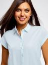Рубашка хлопковая с коротким рукавом oodji #SECTION_NAME# (синий), 13K11001/46401/7002N - вид 4