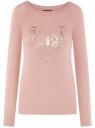 Джемпер с декором из пайеток oodji для женщины (розовый), 14807031-4B/15640/4B96Z