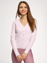 Кардиган вязаный на пуговицах oodji для женщины (розовый), 63212607/33506/4000N