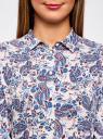 Блузка принтованная из вискозы oodji для женщины (синий), 11411098-1/24681/1275E
