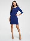 Платье трикотажное с рукавом 3/4 oodji для женщины (синий), 24001100-3/45284/7500N - вид 2