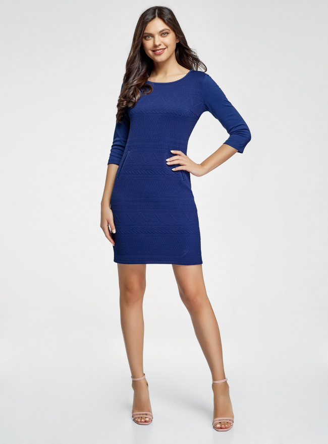 Платье трикотажное с рукавом 3/4 oodji #SECTION_NAME# (синий), 24001100-3/45284/7500N
