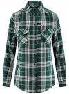 Рубашка в клетку с нагрудными карманами oodji #SECTION_NAME# (зеленый), 11400433/43223/6912C