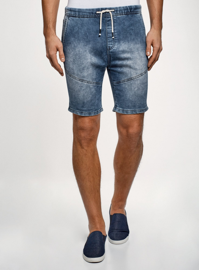 Шорты джинсовые с завязками oodji #SECTION_NAME# (синий), 6L200012M/48472/7500W