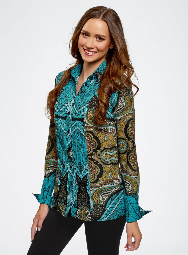 Блузка свободного силуэта с декоративными отстрочками на груди oodji для женщины (бирюзовый), 21411110/42549/7333E