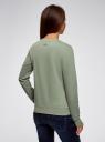 Свитшот хлопковый с принтом oodji для женщины (зеленый), 14801045-14/48015/6219P