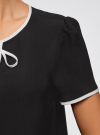 Блузка с коротким рукавом и контрастной отделкой oodji #SECTION_NAME# (черный), 11401254/42405/2900N - вид 5