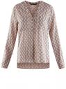 Блузка принтованная из вискозы oodji #SECTION_NAME# (розовый), 11411049-1/24681/4020K