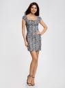 Платье хлопковое со сборками на груди oodji для женщины (серый), 11902047-2B/14885/1029L