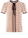 Блузка с коротким рукавом и контрастной отделкой oodji #SECTION_NAME# (бежевый), 11401254/42405/3329A