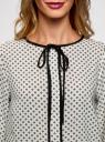 Блузка прямого силуэта с завязками oodji #SECTION_NAME# (белый), 11401267/42405/1229G - вид 4