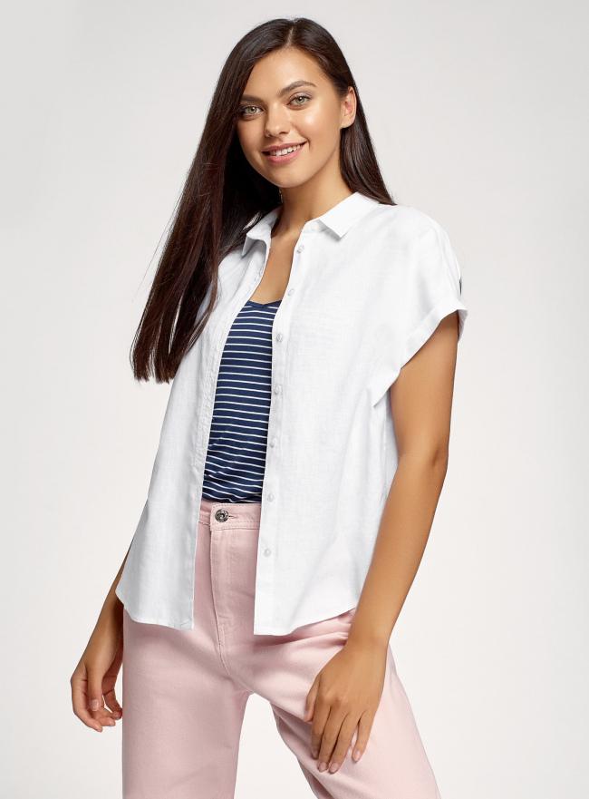 Рубашка прямого силуэта с коротким рукавом oodji для женщины (белый), 13L11021-1/49950/1000N