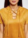 Платье из искусственной замши с завязками oodji #SECTION_NAME# (оранжевый), 18L00001/45778/5200N - вид 4