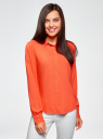Блузка базовая из вискозы oodji #SECTION_NAME# (оранжевый), 11411136B/26346/5500N - вид 2
