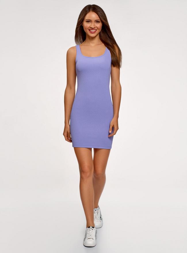 Платье-майка трикотажное облегающее oodji #SECTION_NAME# (фиолетовый), 14001210/48152/8001N