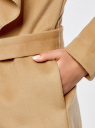 Пальто без застежки с поясом oodji #SECTION_NAME# (бежевый), 10104042-1/47736/3500N - вид 5