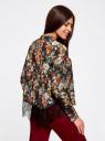 Блузка с отложным воротником и кружевной отделкой oodji для женщины (черный), 21400406/45287/2945F