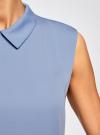 Блузка базовая без рукавов с воротником oodji #SECTION_NAME# (синий), 11411084B/43414/7500N - вид 5