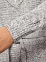 "Кардиган вязаный ""в косичку"" с поясом oodji #SECTION_NAME# (серый), 63205138-7/31347/1223M - вид 5"