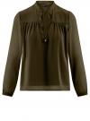 Блузка из шифона свободного силуэта с завязками oodji #SECTION_NAME# (зеленый), 21400402/17358/6800N