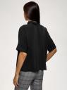 Блузка из струящейся ткани с коротким рукавом oodji для женщины (черный), 11405147/48728/2900N