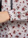 Блузка принтованная с контрастным бантом oodji #SECTION_NAME# (белый), 11411058/43277/1245F - вид 5