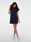 Платье прямого силуэта с отворотами на рукавах oodji #SECTION_NAME# (синий), 14008020B/47999/7900N - вид 2