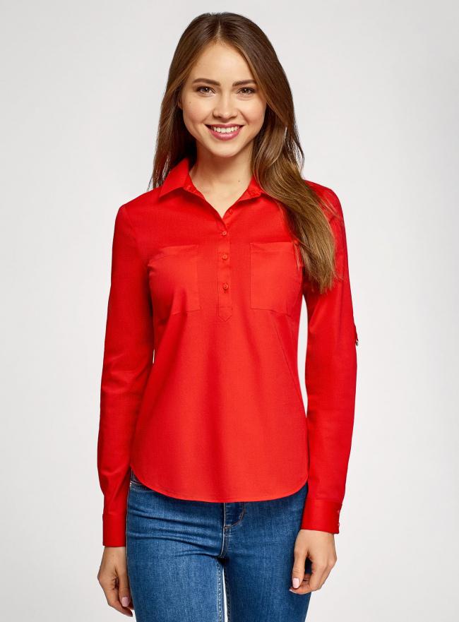 Рубашка базовая с нагрудными карманами oodji #SECTION_NAME# (красный), 11403222B/42468/4500N