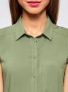 Топ вискозный с нагрудным карманом oodji для женщины (зеленый), 11411108B/26346/6200N - вид 4