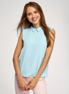 Блузка базовая без рукавов с воротником oodji #SECTION_NAME# (бирюзовый), 11411084B/43414/7000N - вид 2