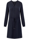Платье вискозное на кулиске oodji #SECTION_NAME# (синий), 11911031/26346/7900N
