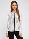 Блузка из струящейся ткани с контрастной отделкой oodji #SECTION_NAME# (белый), 11411059/43414/1029K - вид 2
