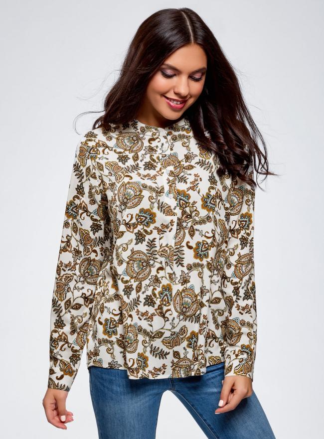 Блузка вискозная А-образного силуэта oodji #SECTION_NAME# (белый), 21411113B/42540/1231E